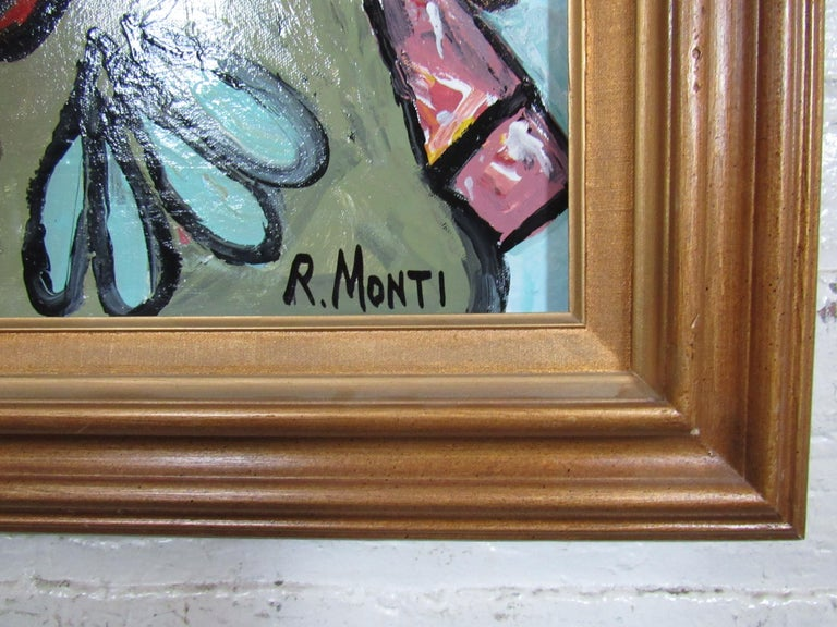 American Colorful Portrait Painting by R. Monti For Sale