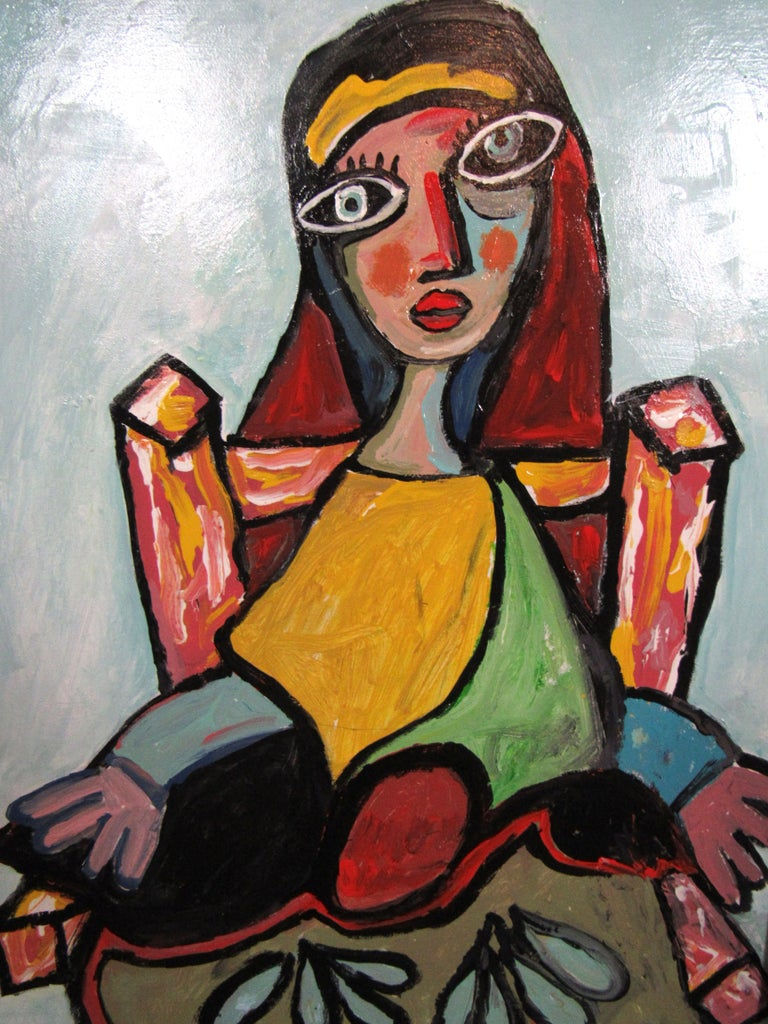 Canvas Colorful Portrait Painting by R. Monti For Sale