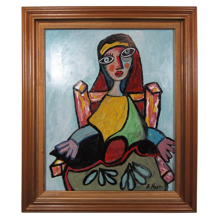 Colorful Portrait Painting by R. Monti For Sale