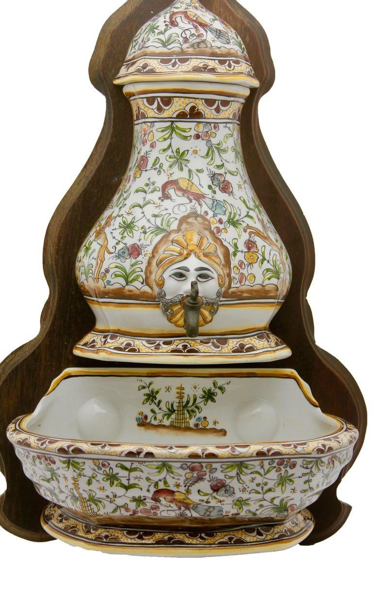 Glazed Colorful Portuguese Cistern/Humidifier with 17th Century Flowers & Masque Decor For Sale