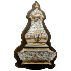 Colorful Portuguese Cistern/Humidifier with 17th Century Flowers & Masque Decor