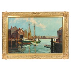 Colorful Rockport Harbor Painting by Hjalmar Cappy Amundsen
