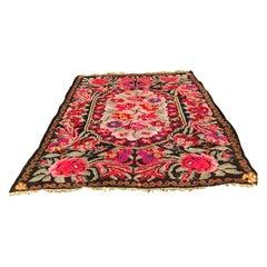 Colorful Room Sized Floral Kilim Carpet