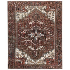Colorful Semi Antique Persian Heriz Hand Knotted Oriental Rug