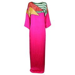 Colorful Sequined and Satin T Shirt Gown