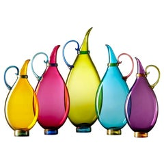 Colorful Set of 5 Decorative Blown Glass Vases, Collectible Design by Vetro Vero