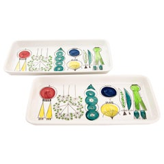 Colorful Set of Ceramic Rörstrand Marianne Westman Large Dish Platter