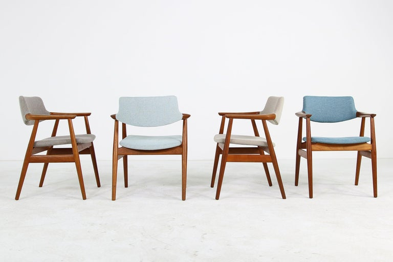 Mid-Century Modern Colorful Set of Four 1960s Rare Svend Aage Eriksen Teak Armchairs, Danish Modern For Sale