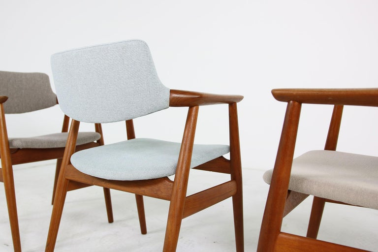 Mid-20th Century Colorful Set of Four 1960s Rare Svend Aage Eriksen Teak Armchairs, Danish Modern For Sale