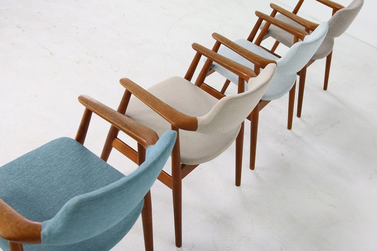 Fabric Colorful Set of Four 1960s Rare Svend Aage Eriksen Teak Armchairs, Danish Modern For Sale