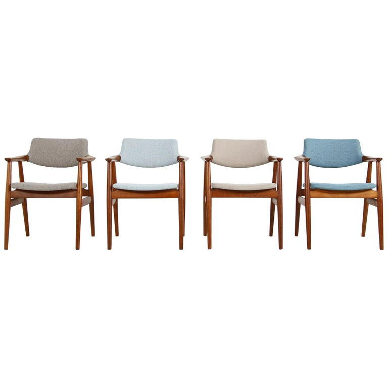 Colorful Set of Four 1960s Rare Svend Aage Eriksen Teak Armchairs, Danish Modern For Sale