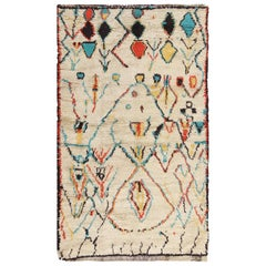 Colorful Small Size Vintage Moroccan Rug. Size: 4 ft 2 in x 7 ft