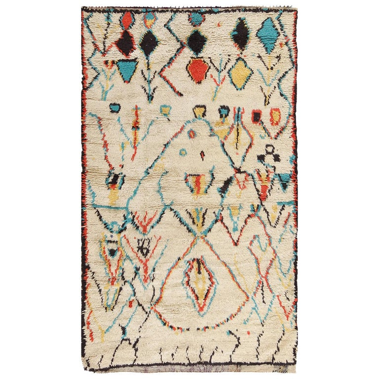 Colorful Small Size Vintage Moroccan Rug For Sale At 1stdibs