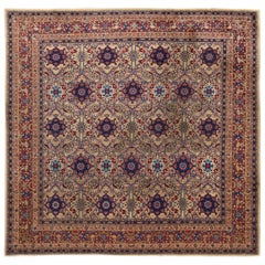 Colorful Square Indian Agra Handmade Wool Rug