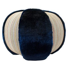 Colorful Stripe Pouf/Ottoman with Vibrant Blue Faux Fur