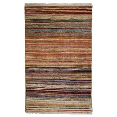 Colorful Striped Hand-Knotted Persian Wool Area Rug
