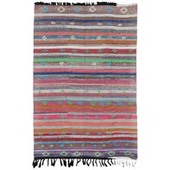 Colorful Striped Vintage Turkish Kilim Flat-Weave Rug in Bright Colors
