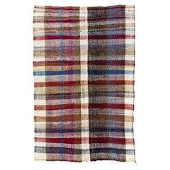 6.6x10 Ft Colorful Stripes Hand-Woven Vintage Cotton Rag Kilim, Reversible