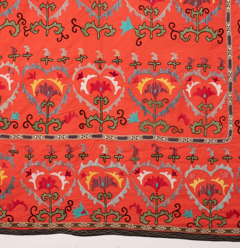Silk Colorful Suzani from Uzbekistan, Central Asia, Mid-20th Century For Sale
