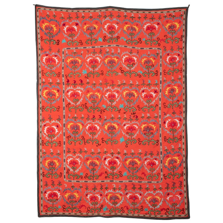 Colorful Suzani from Uzbekistan, Central Asia, Mid-20th Century For Sale