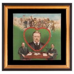 Colorful Teddy Roosevelt Textile Celebrating his 1906 Nobel Peace Prize