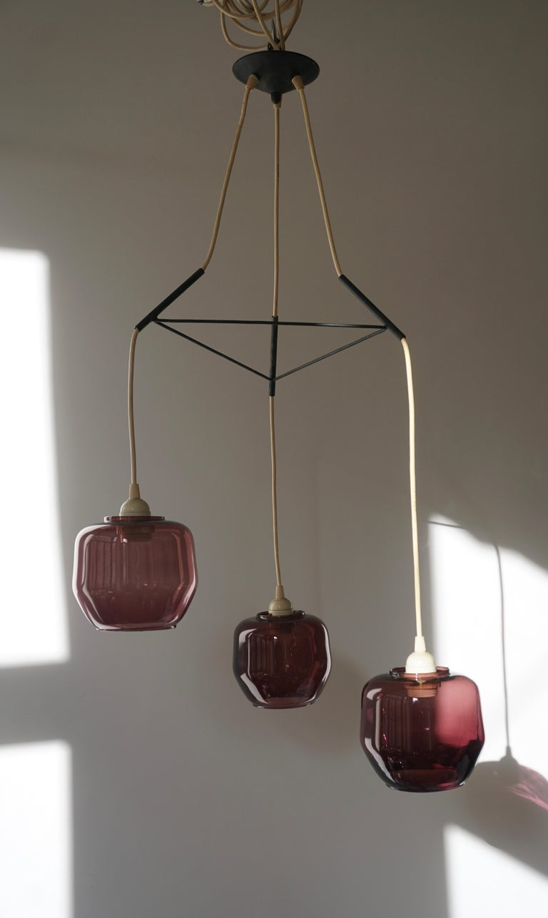 Mid-Century Modern Colorful Three-Light Cased Murano Glass Chandelier, Italy, 1950s For Sale