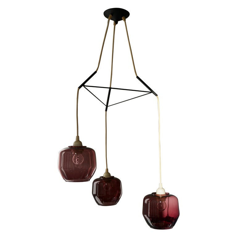 Colorful Three-Light Cased Murano Glass Chandelier, Italy, 1950s For Sale