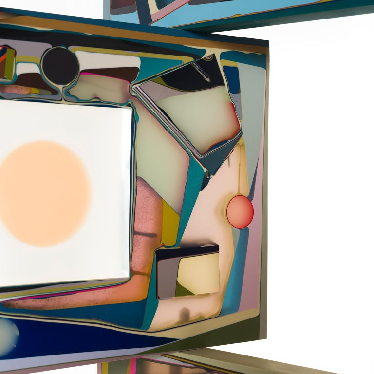 Contemporary Colorful Translucent Resin Room Divider Screen by Elyse Graham For Sale