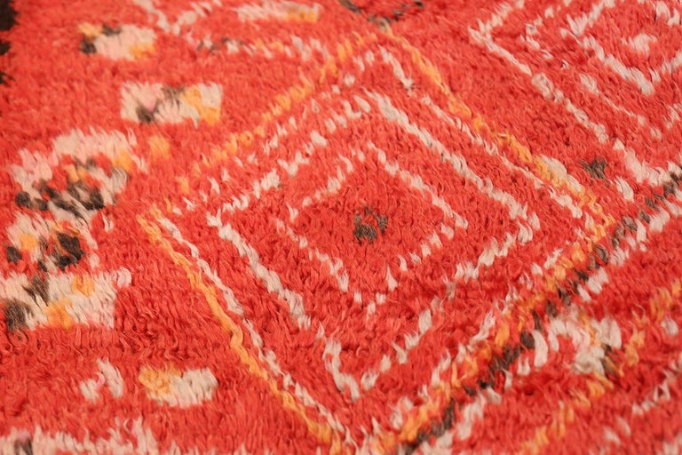 20th Century Colorful Tribal Vintage Berber Moroccan Rug For Sale