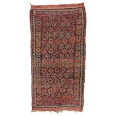 Colorful Tribal Vintage Moroccan Carpet, circa 1940s