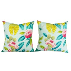 Colorful Tropical Oasis Throw Pillows