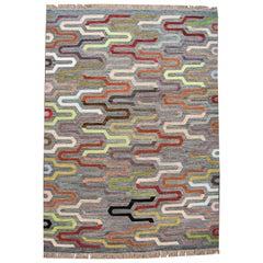 Colorful Turkish Flat-Weave Rug