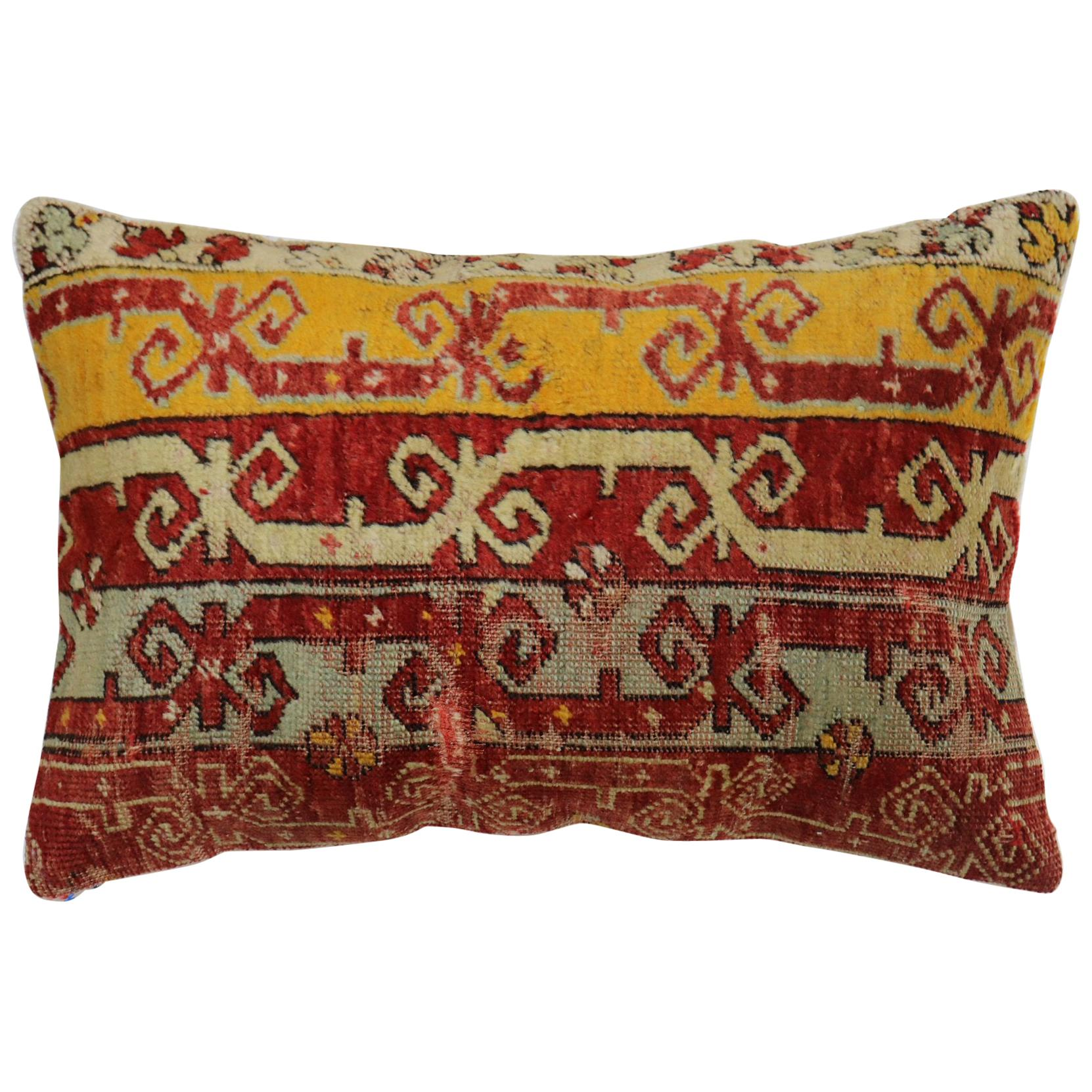 Colorful Turkish Ghiordes Rug Pillow