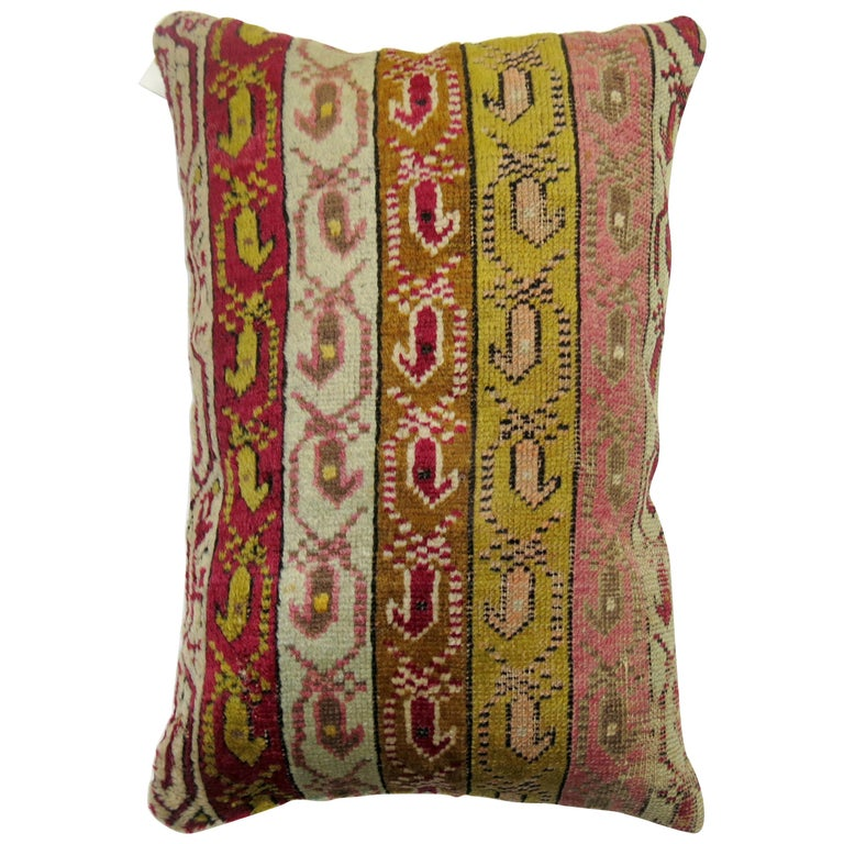 Colorful Turkish Ghiordes Rug Pillow For Sale