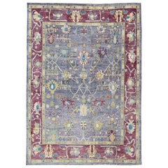 Colorful Turkish Oushak Rug with All-Over Flower Design