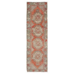 Colorful Turkish Oushak Runner with Layered Medallions and Complimentary Border