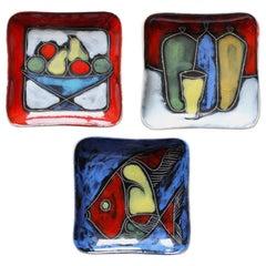 Colorful Vibrant Set of Italian Midcentury Sgraffito San Marino Ceramic Dishes