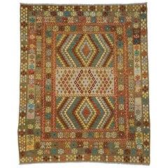 Colorful Vintage Afghani Shirvan Kilim Rug with Bohemian Tribal Style