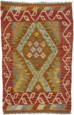 Vintage Afghani Shirvan Kilim Rug with Pacific Northwest Tribal Style