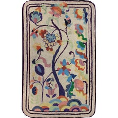 Colorful Vintage American Hooked Rug with Branching Rainbow-Colored Flowers