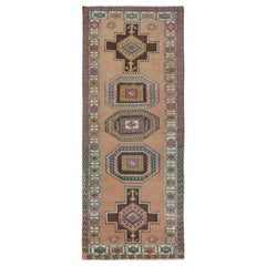 Colorful Vintage and Worn Down Persian Karabakh Hand Knotted Runner Oriental Rug