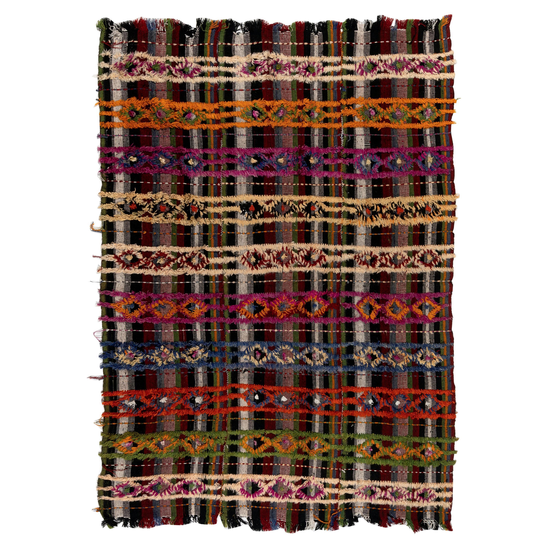 6.7x9 Ft Colorful Vintage Handmade Turkish Kilim Rug. Wool Flat-weave.