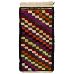 Colorful Vintage Checkered Tulu Rug, Soft Wool Pile