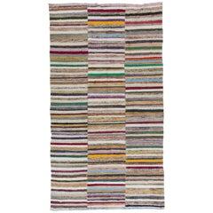 6.3x11.4 Ft Colorful Vintage Cotton Kilim 'Flat-Weave', Rag Rug for Home-Office