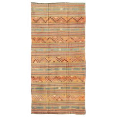 Colorful Vintage Embroidered Kilim with Stripe's and Geometric Prints