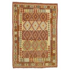 Colorful Vintage Kilim Rug with Tribal Style, Afghani Shirvan Flat-Weave Kilim