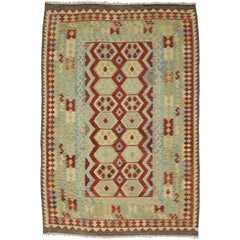 Colorful Vintage Kilim Rug with Tribal Style, Flat-Weave Afghani Shirvan Kilim