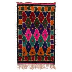 """Colorful Vintage Minimalist Anatolian """"Tulu"""" Rug, All Wool"""