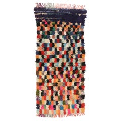 Colorful Vintage Moroccan Boucherouite Accent Rug, Shaggy Moroccan Rug