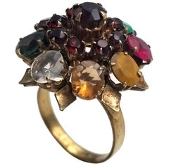 Colorful Vintage Multi Genuine Gemstone Princess Ring in Gold